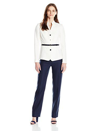 Tahari ASL Womens Herringbone Pant Suit with Belt IvoryNavy 16 -- Be sure to check out this awesome product.