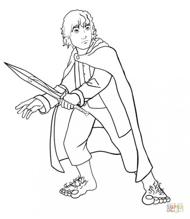 frodo the little hobbit in lord of the rings online coloring sheet