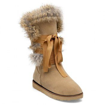 Faux Fur Lace Up Mid Calf Boots | Boots