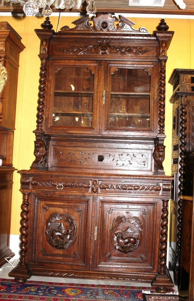 antique oak display cabinet antique carved oak barley twist hunt buffet 4118