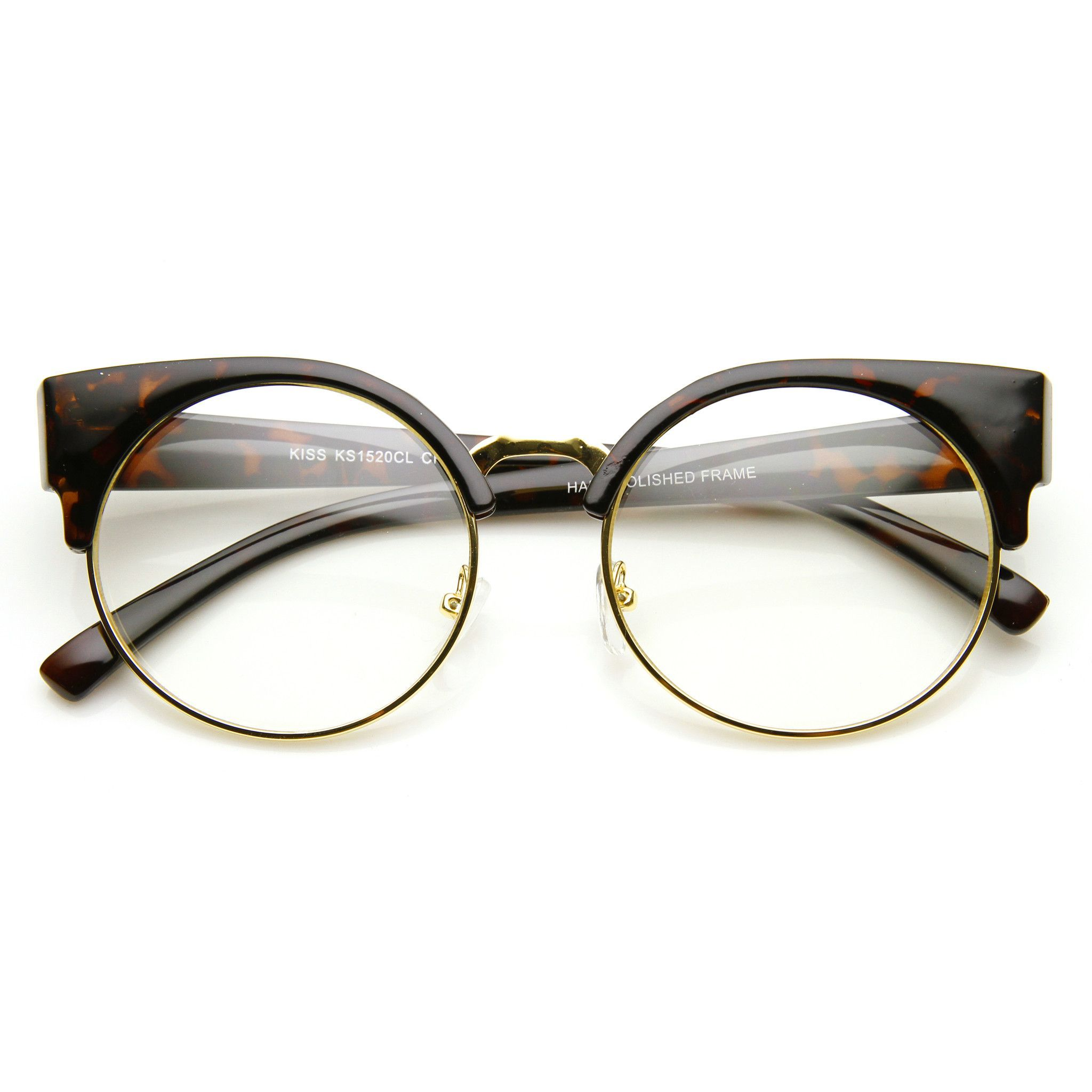 c658617c079 Indie Hipster Round Cat Eye Clear Lens Half Frame Glasses 9351 ...