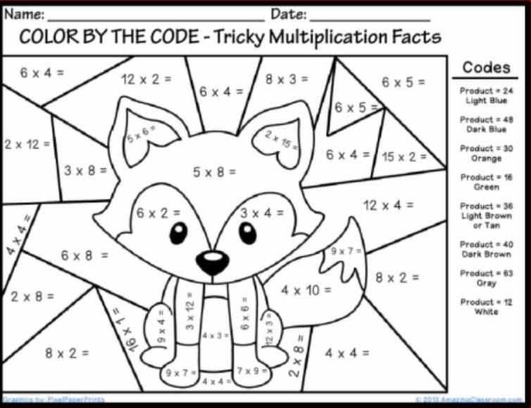 Worksheet Color By The Multiplication Pictures To Print For Free free math coloring pages printable school pinterest pages