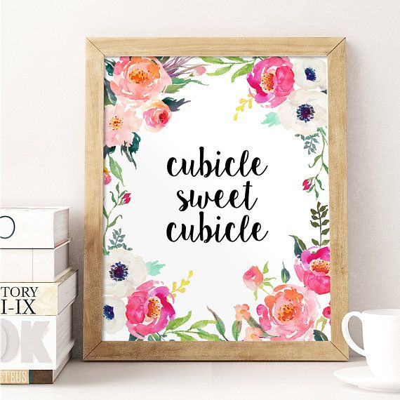 Office wall decor ubicle sweet cubicle watercolor for Cubicle wall decor