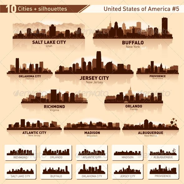 Skyline City Set 10 Cities Of Usa 5 City Silhouette Skyline Tattoo City Skyline