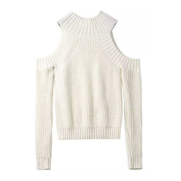 SheIn(sheinside) Beige Off the Shoulder Knit Sweater (€21) ❤ liked on Polyvore featuring tops, sweaters, beige, white off the shoulder sweater, loose knit sweater, knit pullover sweater, loose sweater and beige sweater