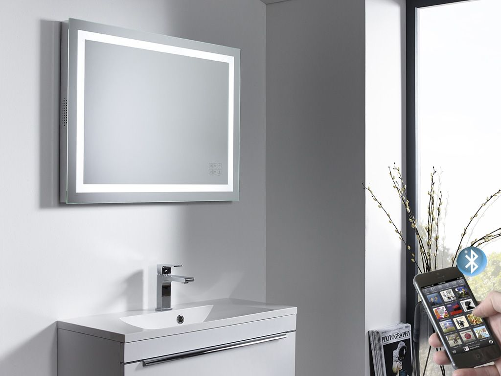 Mirrored Bathroom Cabinets Uk Beat Illuminated Bluetooth Bathroom Mirror With Speakers Roper