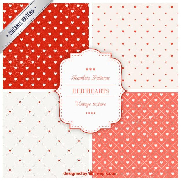 Red hearts patterns collection Free Vector | AI&PS|Pattern&etc ...