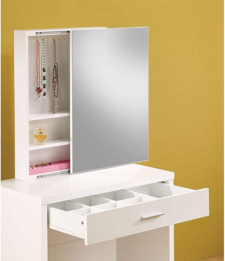 Glossy Vanity Stool Set White Finish Contemporary Sliding Mirror Storage New #Coaster #Contemporary #Furniture #SlidingMirror #Storage #Stool #WhiteFurniture