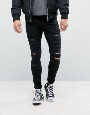 new look extrem enge jeans mit rissen in schwarz in 2019. Black Bedroom Furniture Sets. Home Design Ideas