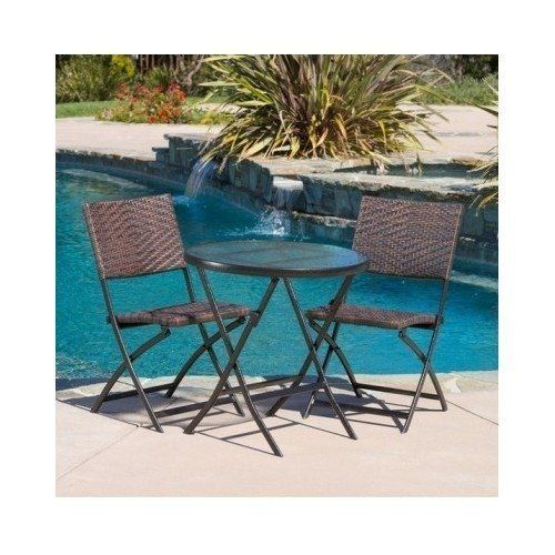 El Paso 3 Piece Glass Top Bistro Set With Folding Wicker Chairs By