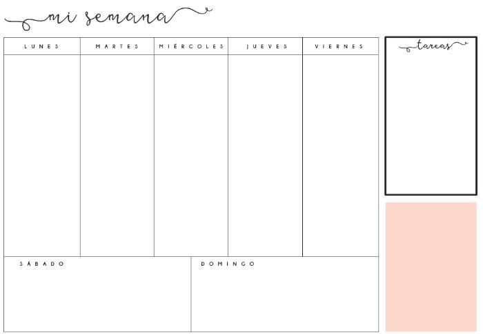 Calendario Semanal.Planificador Organizador Semanal Mensual Descargar Creativo