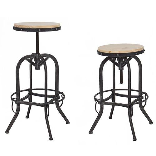 Best Choice Products Vintage Bar Stool Industrial Metal Design Wood Top Adjustable Height Swivel Vintage Bar Stools Industrial Bar Stools Metal Bar Stools