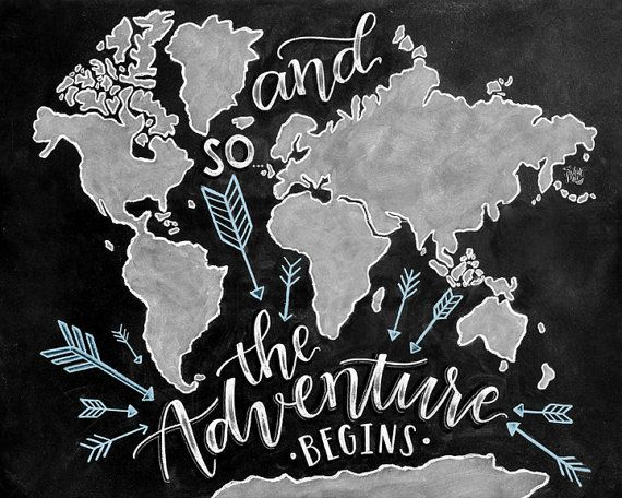 And so the adventure begins sign world map wanderlust chalkboard and so the adventure begins sign world map by thewhitelime on etsy gumiabroncs Images