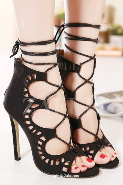 Hollow Out Suede Stiletto Heel Sandals