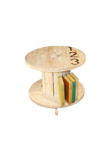 Mesa Bobina con ruedas de la colección Artilujos.com. Es una mesa reciclada fabricada con una bovina de cable. #Mueblesreciclados #deco #upcycling #diseño #Mesareciclada