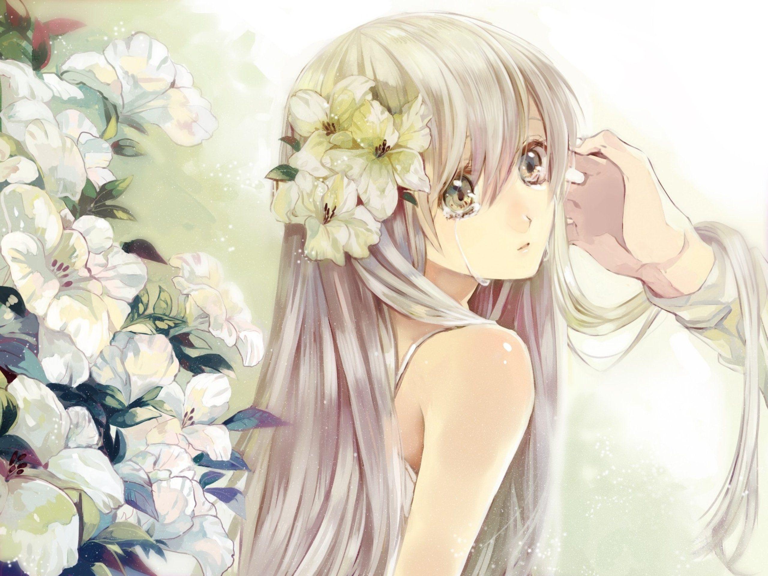 white hair with light green eyes