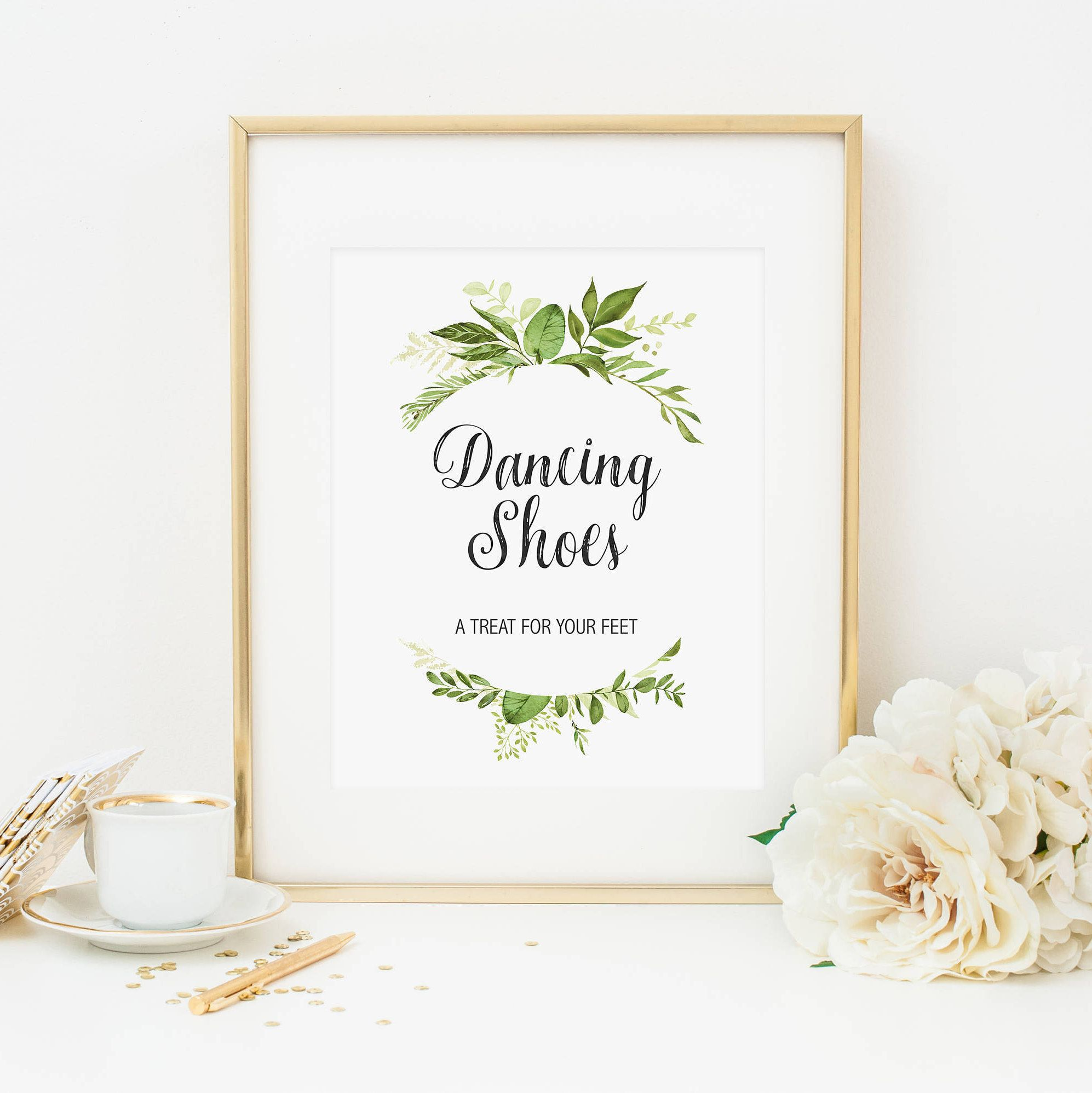 Wedding Dancing Shoes Sign Printable Green Foliage Flip Flop Table
