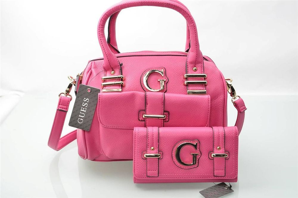 c1ea1205330c Guess HandBag NWT Pink Kristin LG Tote Hobo Bag Purse Satchel   Wallet Set  New  eBay 5 Gables