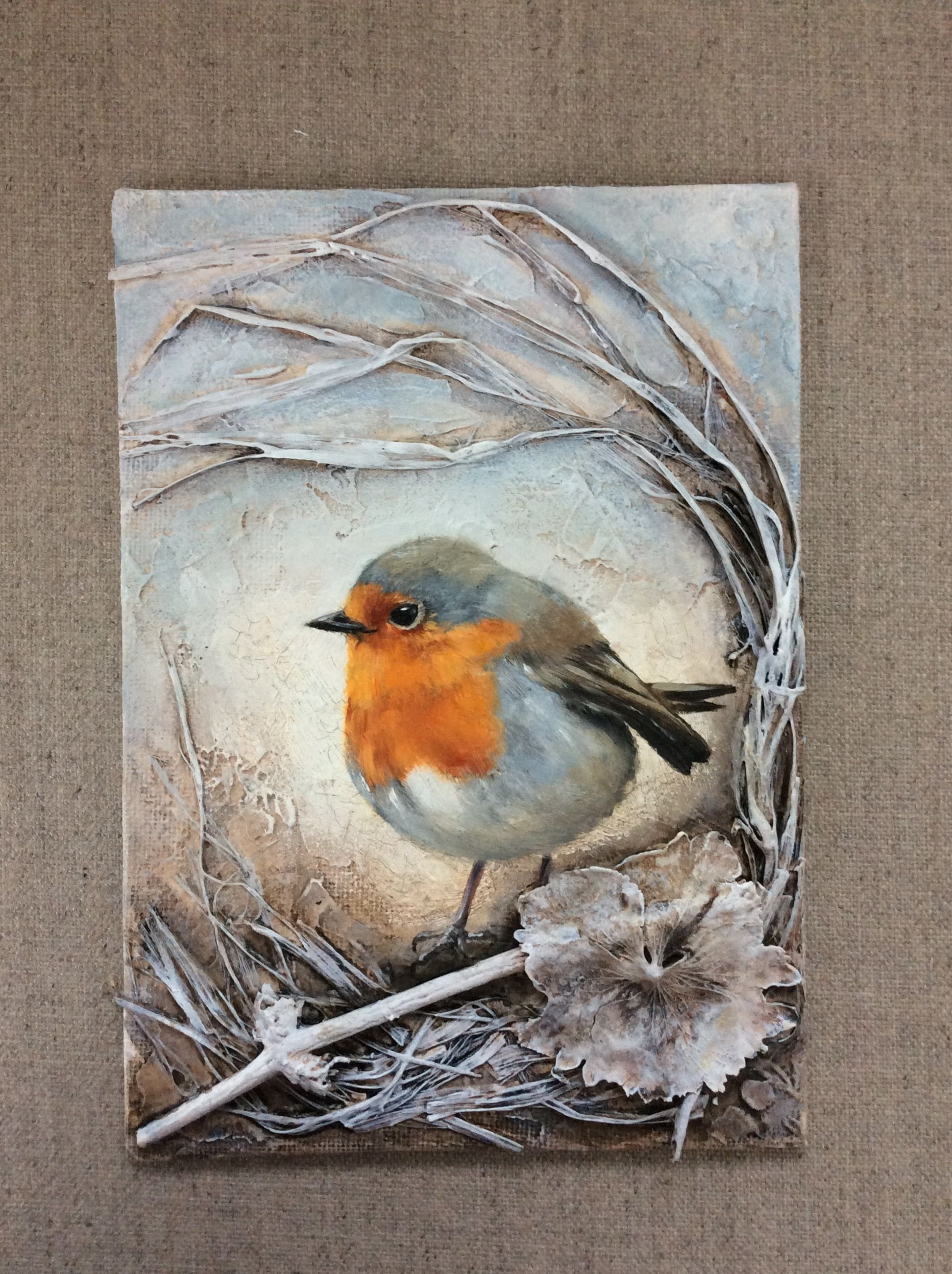 Robin, mixed media painting | cuadros pequeños ideas | Pinterest ...