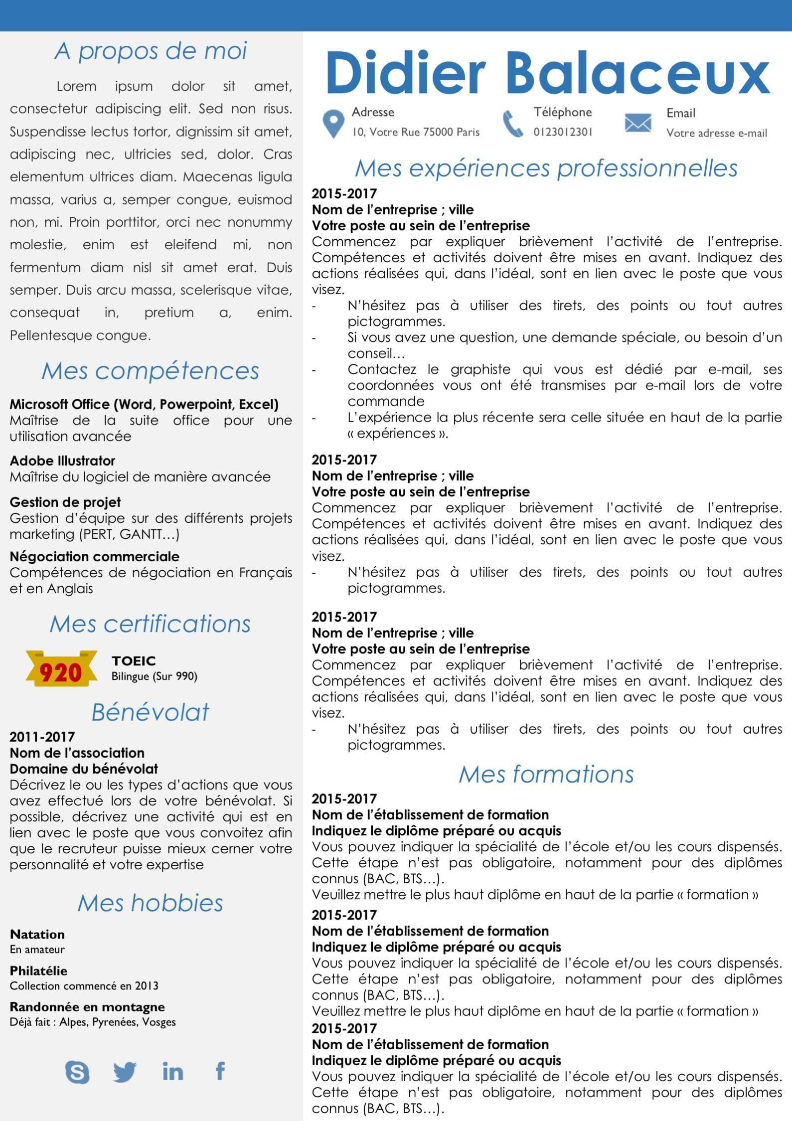 Modeles Cv Et Lettre De Motivation Bleu Modifiable Pour 6 99 Exemple De Lettre De Motivation Exemple De Lettre Lettre De Motivation