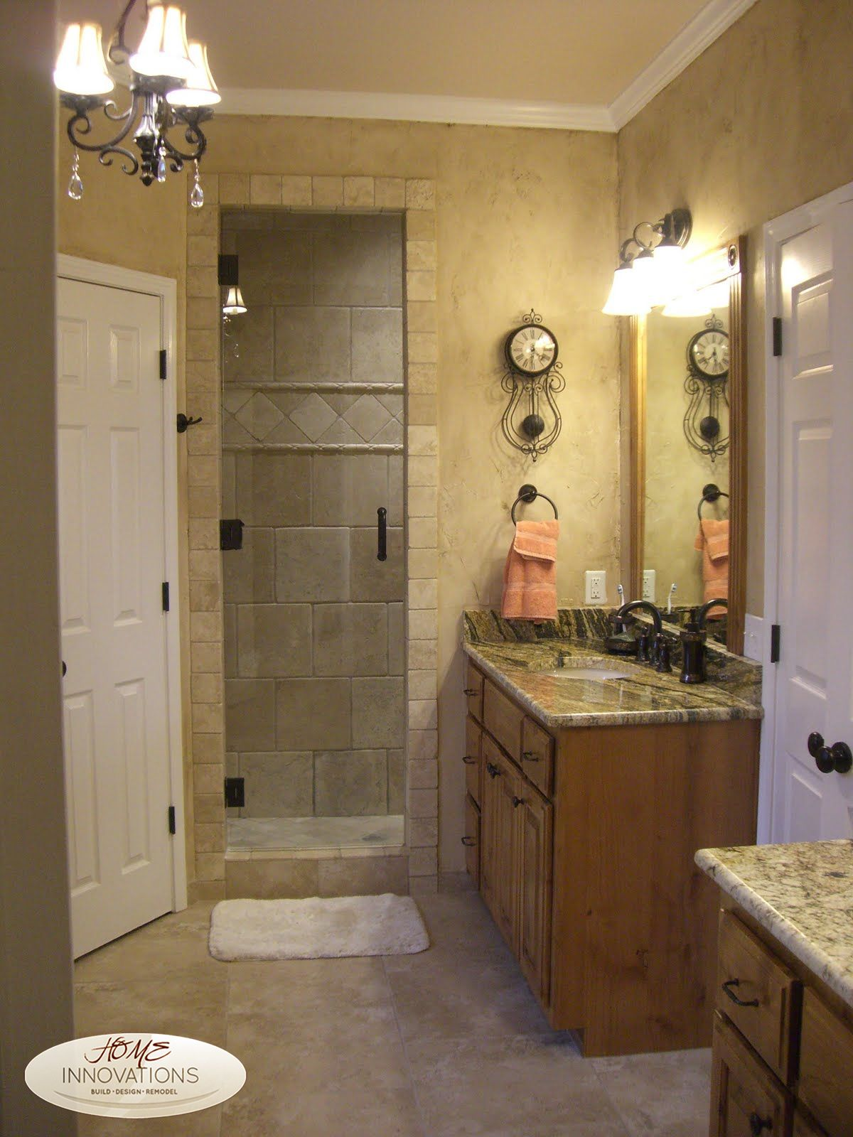 Frame Less Euro Door Travertine Stone Tile Stained Cabinets Prepossessing Tulsa Bathroom Remodeling Design Inspiration