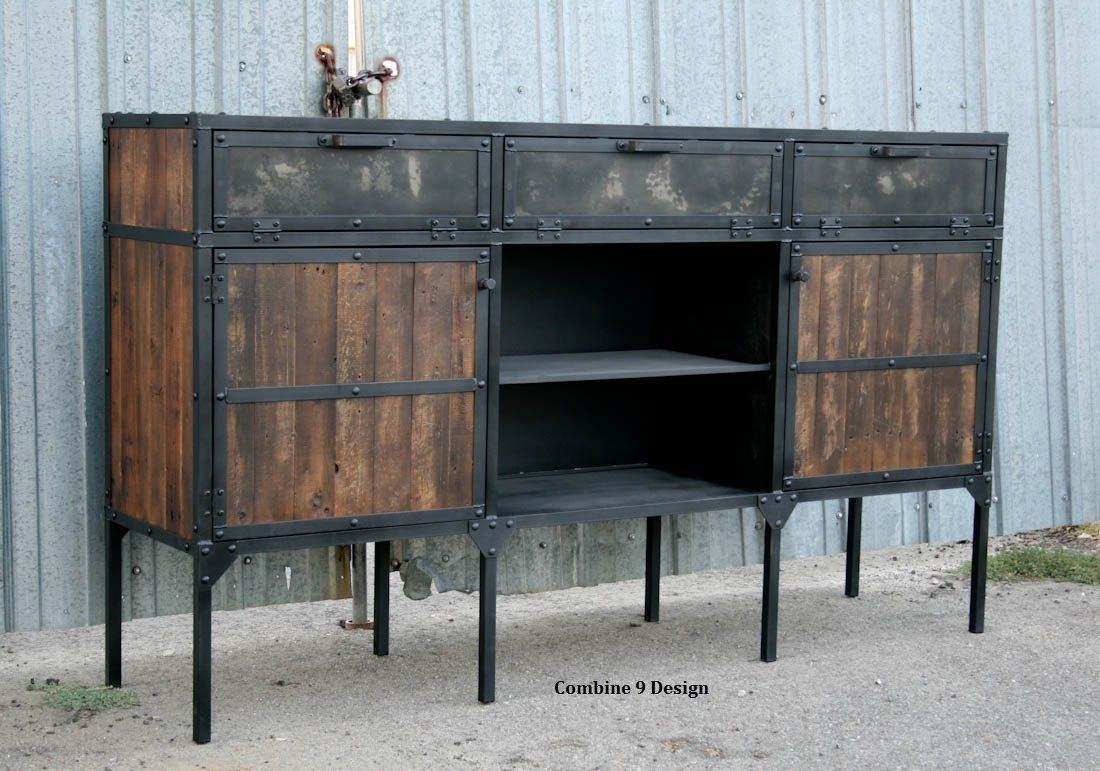 mid century industrial furniture. Vintage Industrial/Mid Century Modern. Steel And Reclaimed Wood. Mid Industrial Furniture F