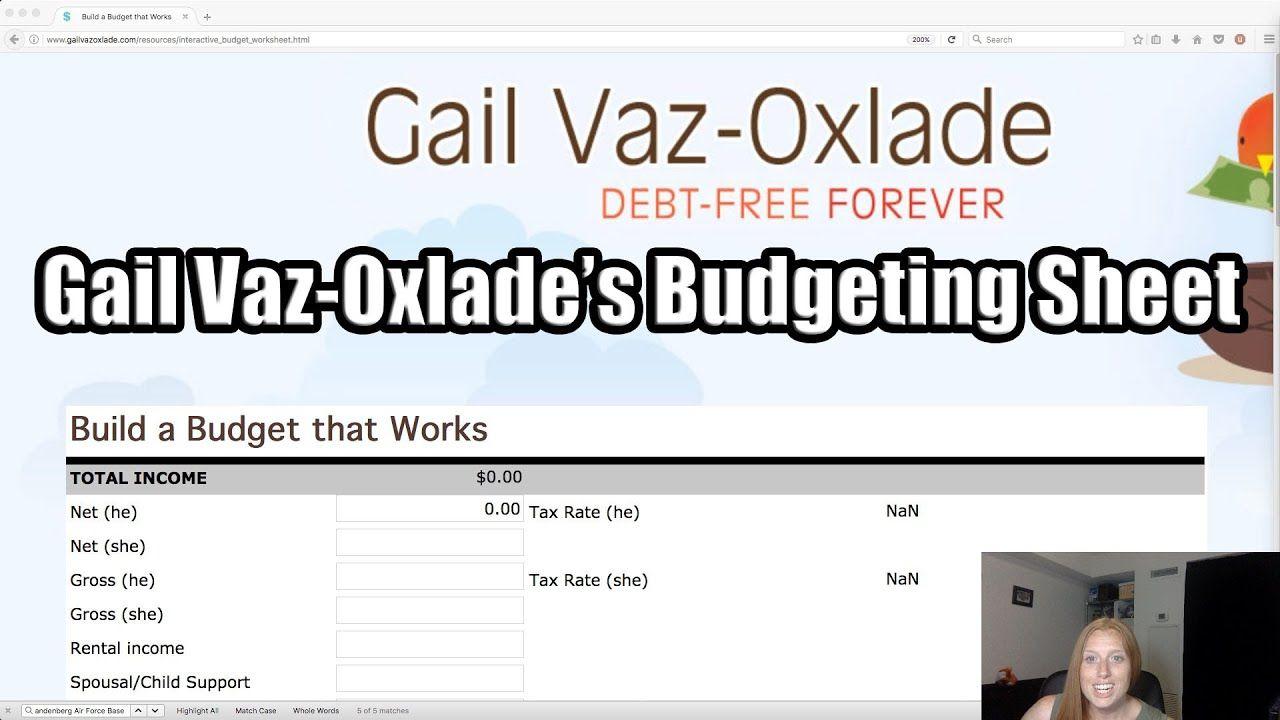 Vaz Oxlade Budget Worksheet Gail