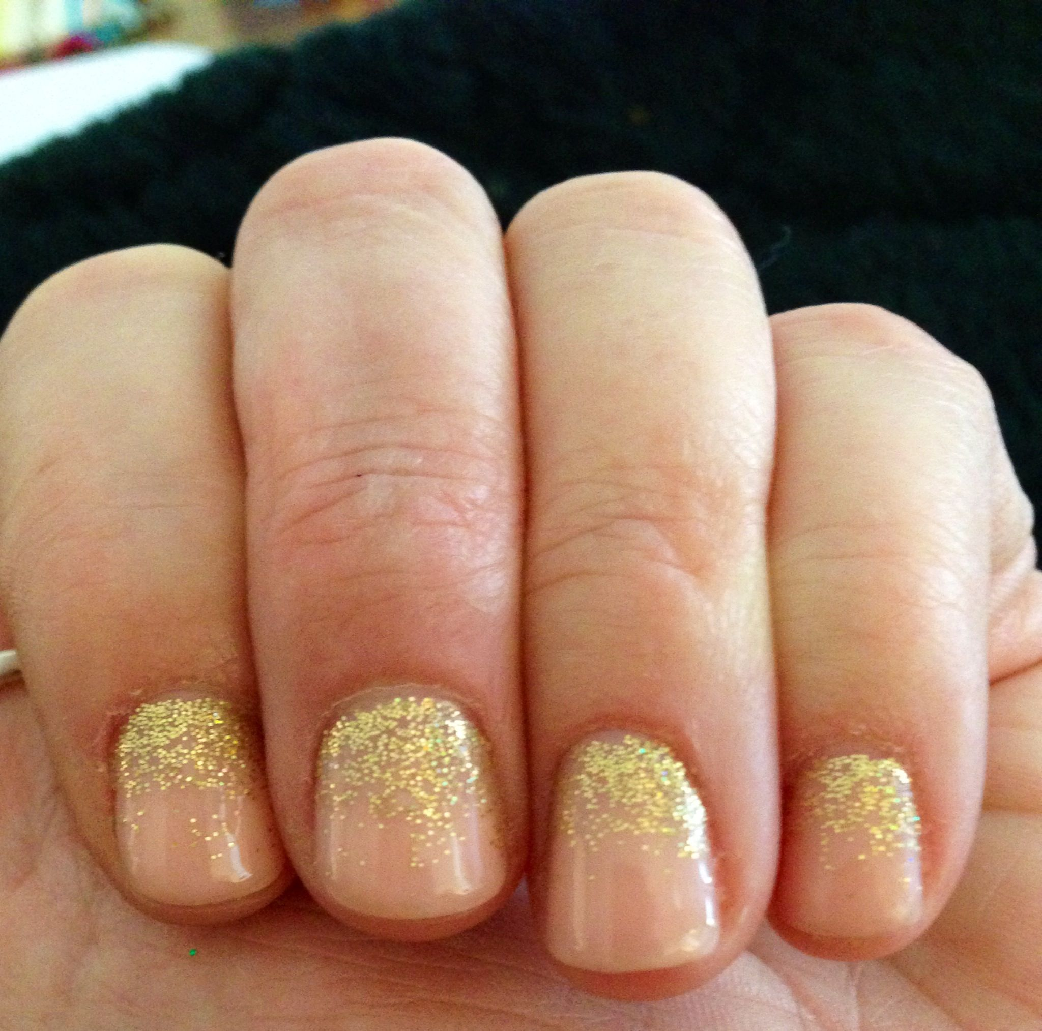 OPI gel Bubble Bath and gold glitter
