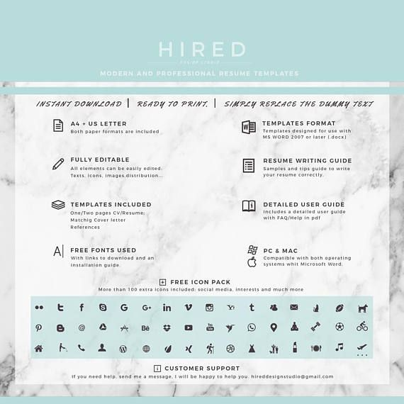 Modern  Professional Resume Cv Template For Word    Pages
