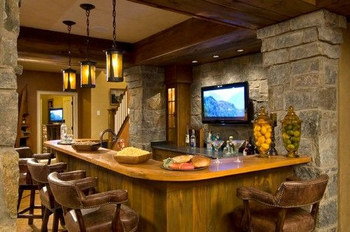 Rustic Basement Ideas With Bar Design