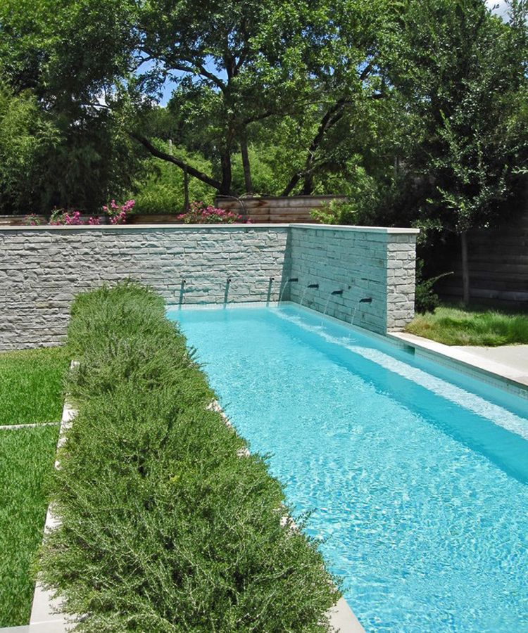 narrow pool design with water features in the wall and planting ...