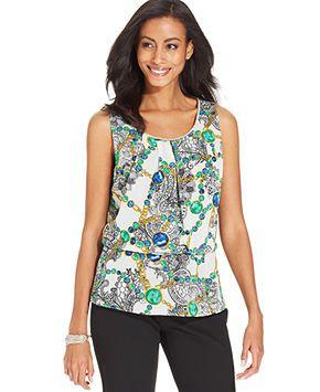 Sunny Leigh Top, Sleeveless Status-Print Beaded Peplum Blouse - Tops - Women - Macy's