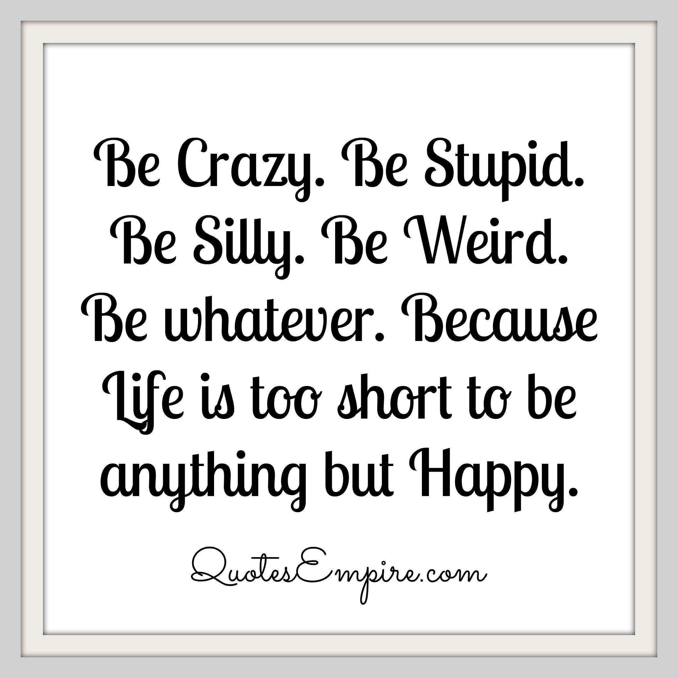 Be Crazy Be Stupid Be Silly Be Weird Be Whatever Because Life