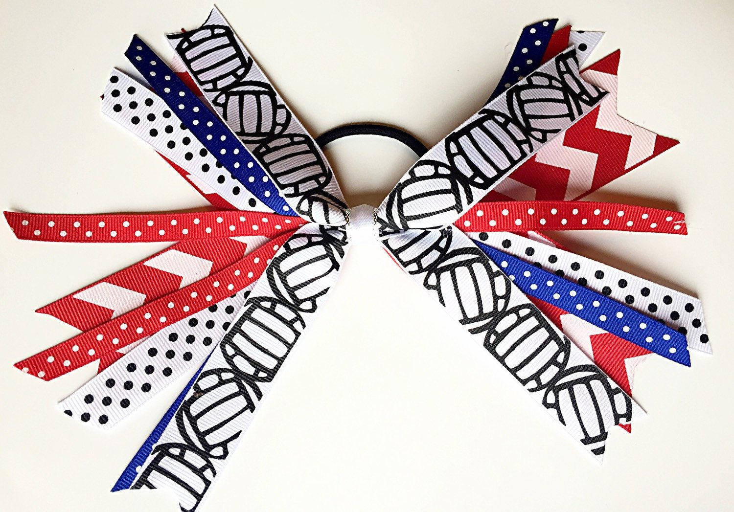 Custom Team Colors Volleyball Hair Bows Volleyball Hair Ties Volleyball Ribbons Red White And B Volleyball Hair Bows Volleyball Ribbon Volleyball Hairstyles