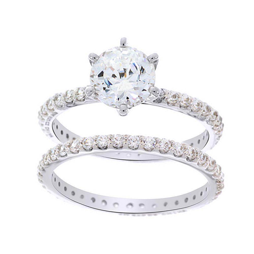 Epiphany Platinum Clad Diamonique 100 Facet 2 Pc Ring Set Sold Out Qvc Rings Platinum Ring Sets
