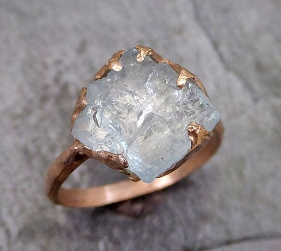 Raw Uncut Aquamarine Ring Solid 14K Rose Gold Ring by byAngeline