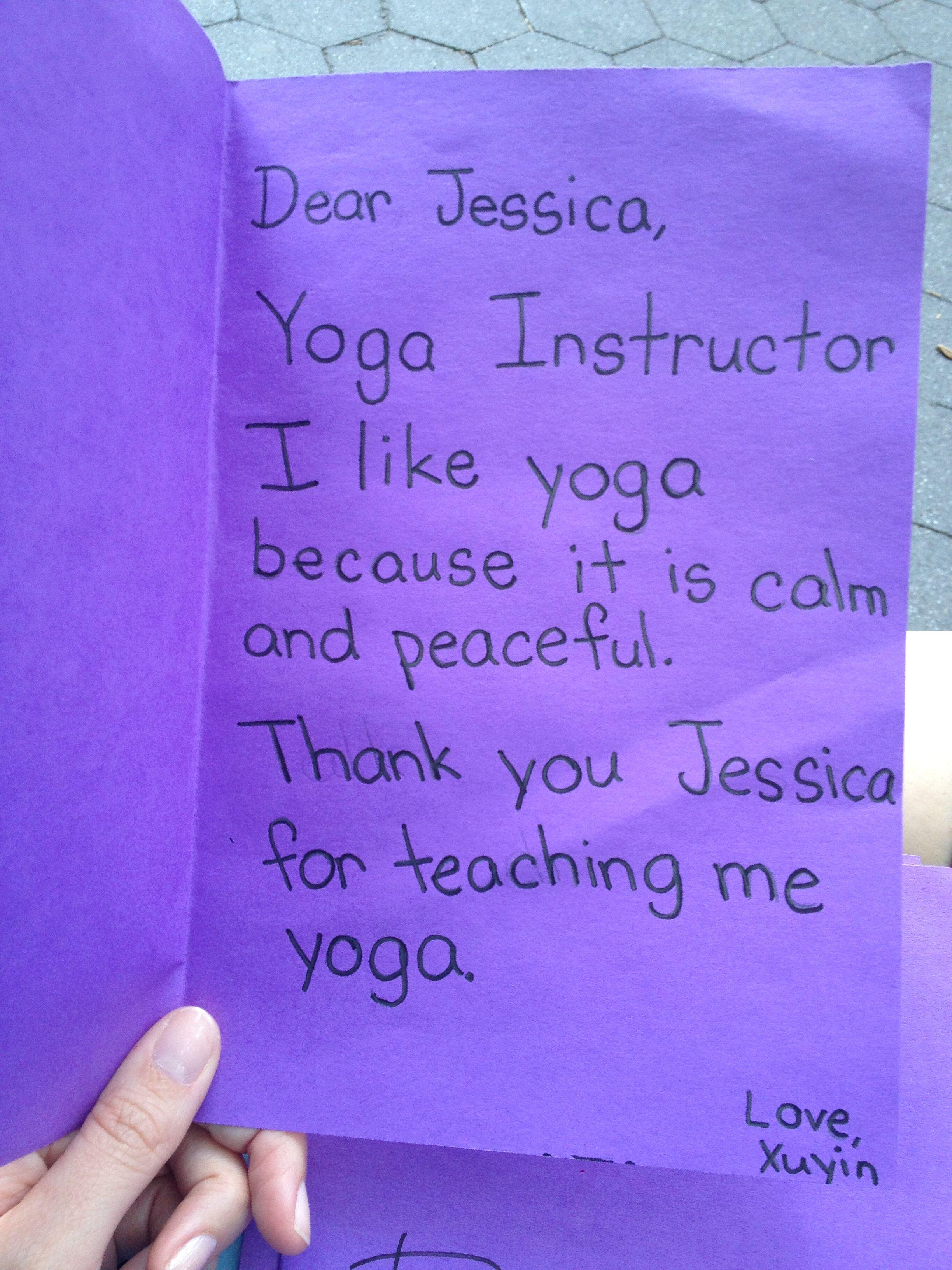 First grade yogi thank you card yoga for kids teaching