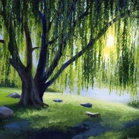 Nature Acrylic Paintings Willow Tree Art Tree Painting Tree Art