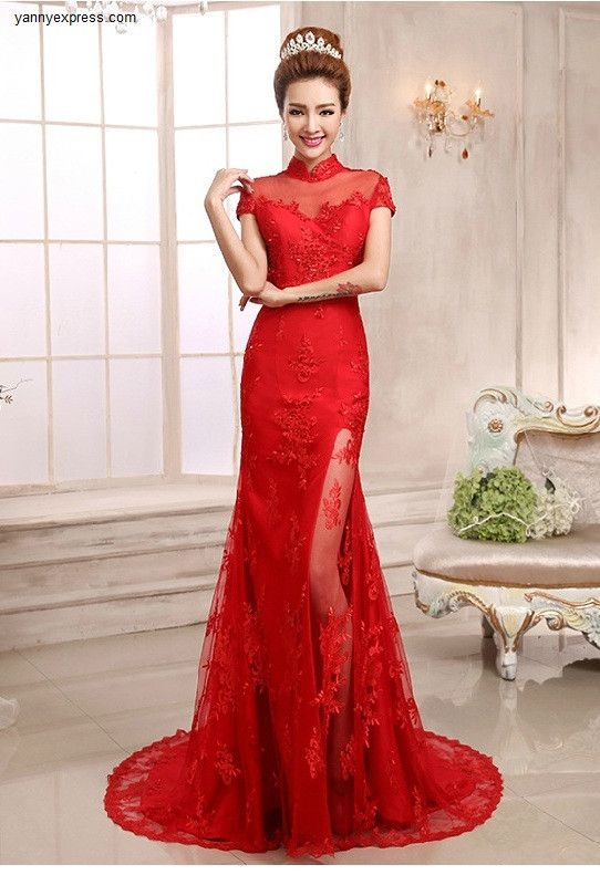 Chinese Wedding Gown Mandarin Collar Bridal Illusion Exquisite Dress ...