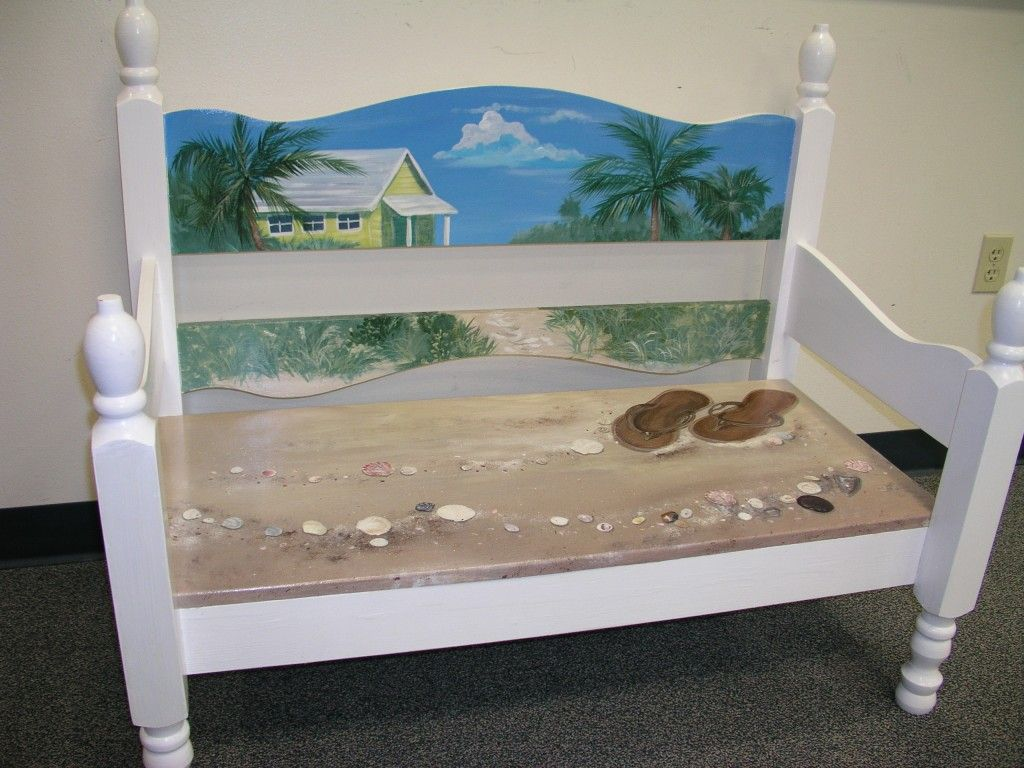 tropical painted furniture. upcycled hand painted beach house bench by jeanosart on etsy tropical furniture u