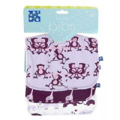 Bib Set (Set of 3) in Thistle Monkey, Melody Giraffe, & Girl Bubble Elephant