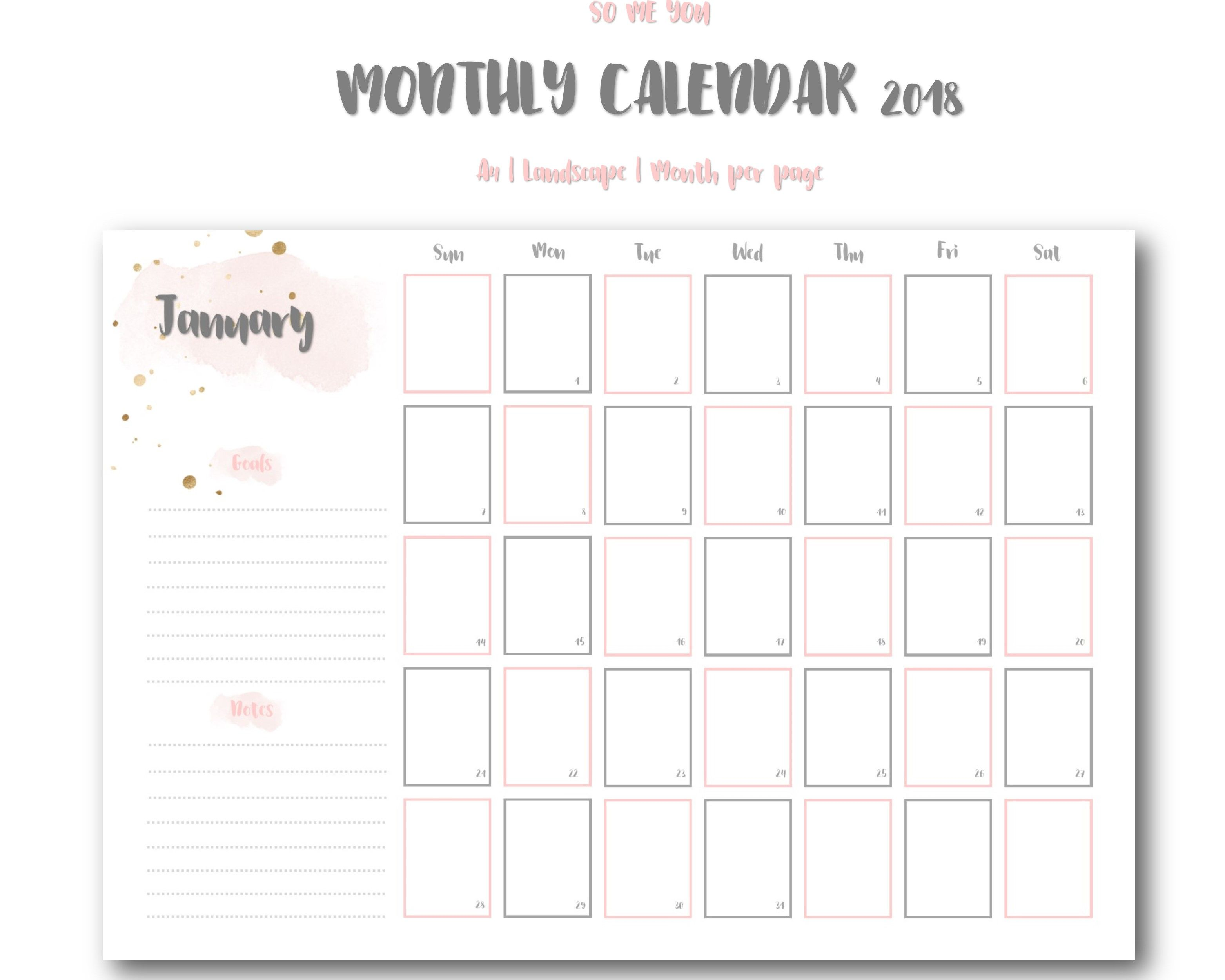 Monthly Printable Planner 2019 Goals Notes 2019 Planner