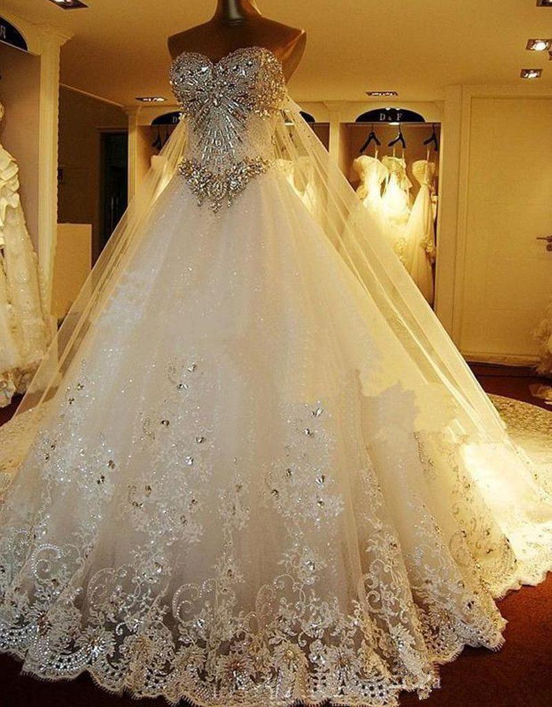 Luxury crystal beaded wedding dress long train custom made beaded