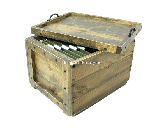 File Boxes Decorative Wood Filing Crate Wooden Crate For File Storage & Organization