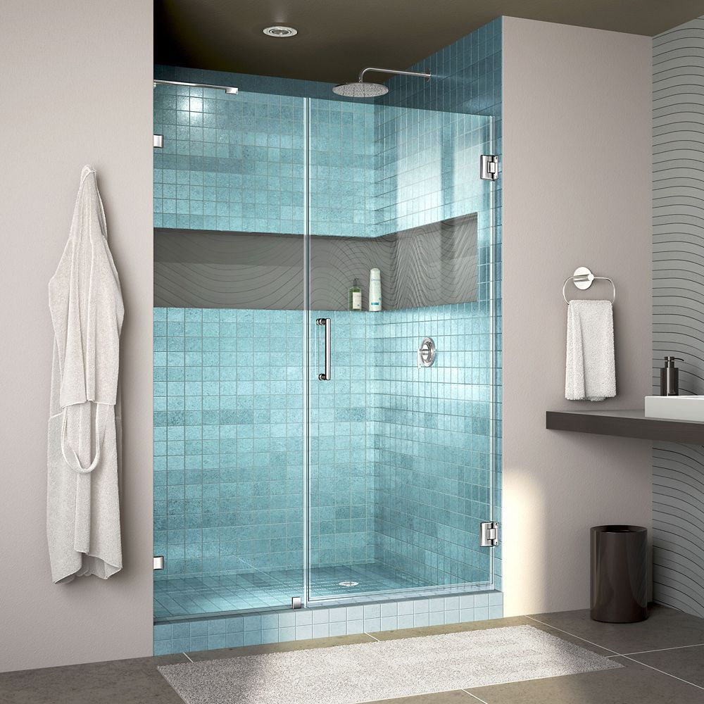 Unidoor Lux 52 Inch W X 72 Inch H Fully Frameless Hinged Shower