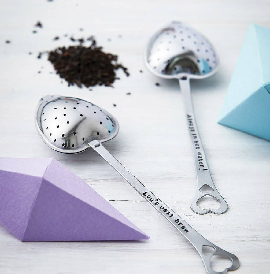LOVE! Personalised, heart shaped, stainless steel tea infuser with a personalised steel disc attached.