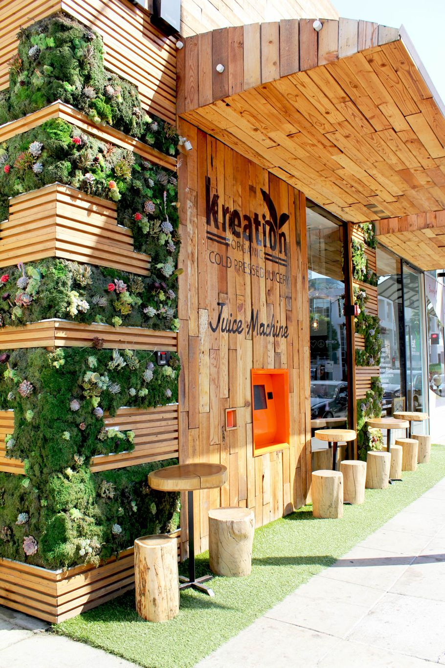 Kreation juice shopfront timber greenery