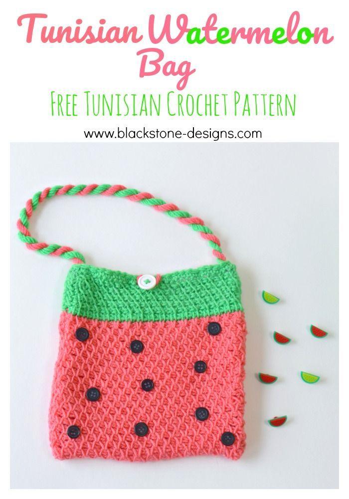 Tunisian Watermelon Bag | Proyectos que debo intentar | Pinterest ...