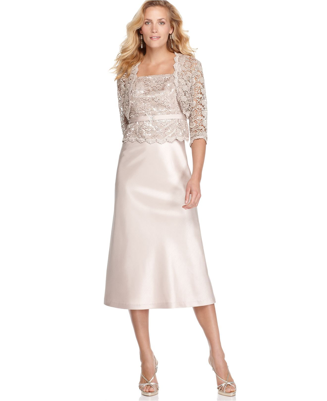 Macy's party dresses weddings   RuM Richards Dress and Jacket Sleeveless Lace Bodice Evening