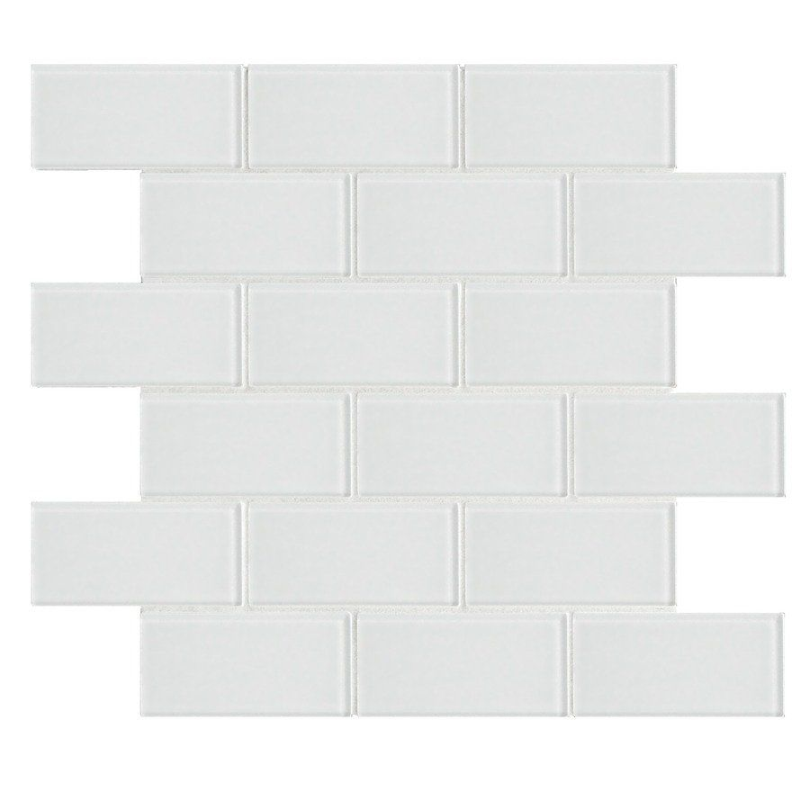 faber white glass mosaic subway thinset mortar wall tile common 12